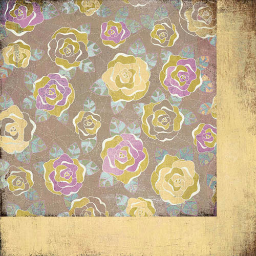 BasicGrey - Plumeria Collection - 12 x 12 Double Sided Paper - Velvet Bloom