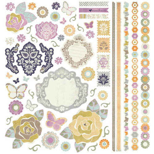 BasicGrey - Plumeria Collection - 12 x 12 Element Stickers - Shapes