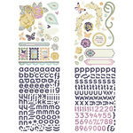 BasicGrey - Plumeria Collection - Adhesive Chipboard - Shapes and Alphabets