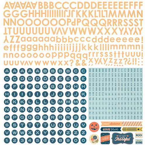 BasicGrey - Persimmon Collection - 12 x 12 Alphabet Stickers