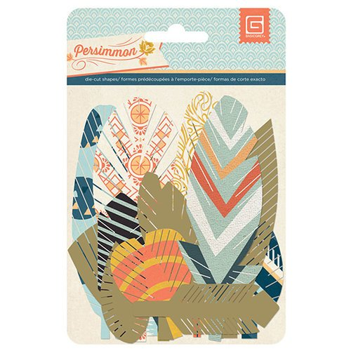 BasicGrey - Persimmon Collection - Die Cut Cardstock and Canvas Pieces - Feathers