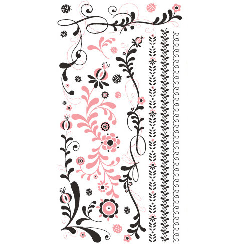 BasicGrey - Urban Prairie Collection - Rub Ons - Whirlygig - Pink and Black