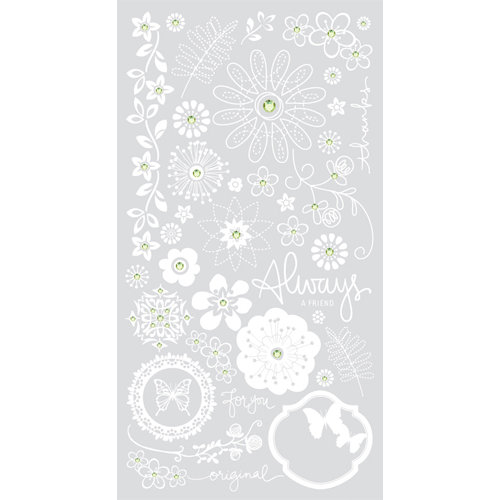 BasicGrey - Origins Collection - Rub Ons and Rhinestones - Always Sparking - White