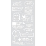 BasicGrey - Basics Collection - Rub Ons - Greetings - White
