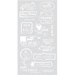 BasicGrey - Basics Collection - Rub Ons - Greetings - White