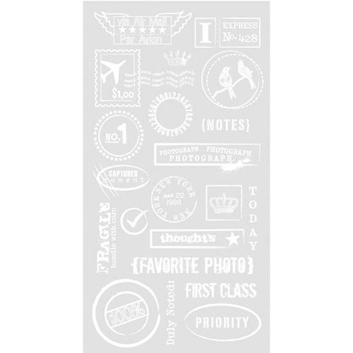 BasicGrey - Basics Collection - Rub Ons - Air Mail - White