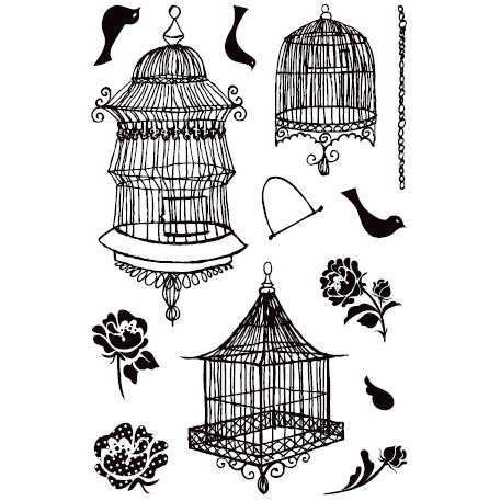 BasicGrey - Porcelain Collection - Clear Acrylic Stamps - Aviary