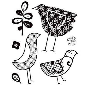 BasicGrey - June Bug Collection - Clear Acrylic Stamps - Birdie Trio