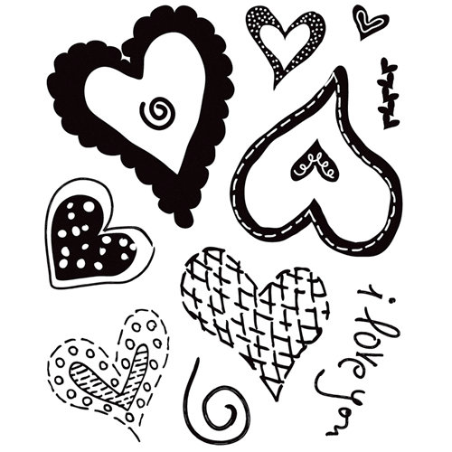 BasicGrey - Sugar Rush Collection - Clear Acrylic Stamps - Heartthrob Bitsy, CLEARANCE