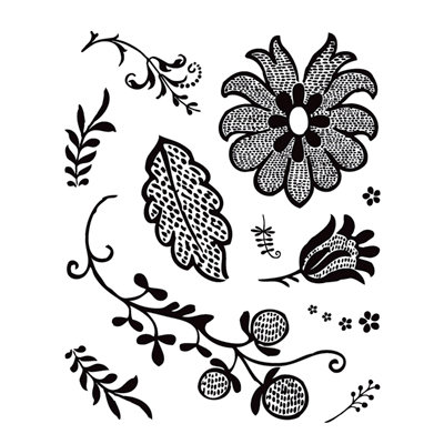 BasicGrey - Origins Collection - Clear Acrylic Stamps - Grape Leaf Bitsy, CLEARANCE