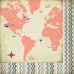 BasicGrey - Whats Up Collection - 12 x 12 Double Sided Paper - Around the World