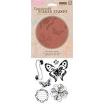 Hero Arts - BasicGrey - Out of Print Collection - Clings - Repositionable Rubber Stamps - Butterflies and Print