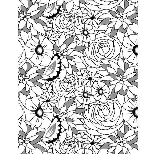 Hero Arts - BasicGrey - PBandJ Collection - Repositionable Rubber Stamps - Flower Medley Background