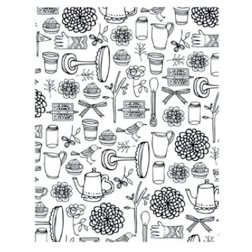Hero Arts - BasicGrey - Paper Cottage Collection - Repositionable Rubber Stamps - Garden Background