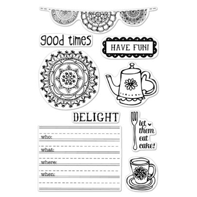 Hero Arts - BasicGrey - Paper Cottage Collection - Poly Clear - Clear Acrylic Stamps - Let Them Eat Cake!