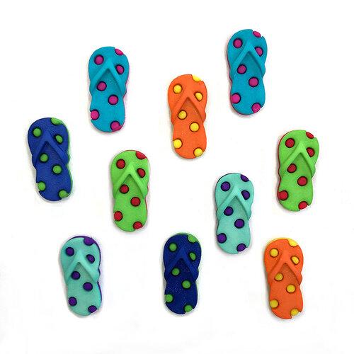 Buttons Galore - Embellishments - Button Theme Packs - Funky Flip Flops