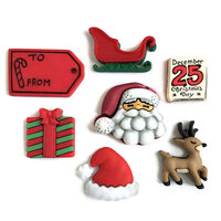 Buttons Galore - Christmas - Embellishments - Button Theme Packs - Santa's on His Way