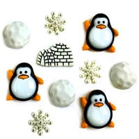 Buttons Galore - Christmas - Embellishments - Button Theme Packs - Penguin Pals