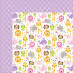 Bella Blvd - Sweet Baby Girl Collection - 12 x 12 Double Sided Paper - Sweet Safari