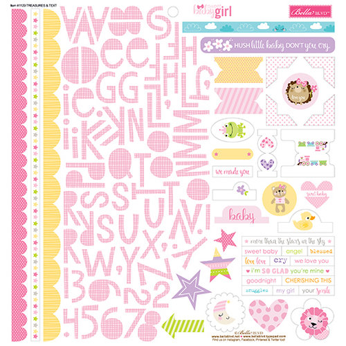 Bella Blvd - Sweet Baby Girl Collection - 12 x 12 Cardstock Stickers - Treasures and Text
