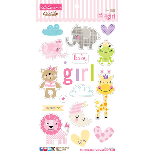 Bella Blvd - Sweet Baby Girl Collection - Ciao Chip - Self Adhesive Chipboard - Icons