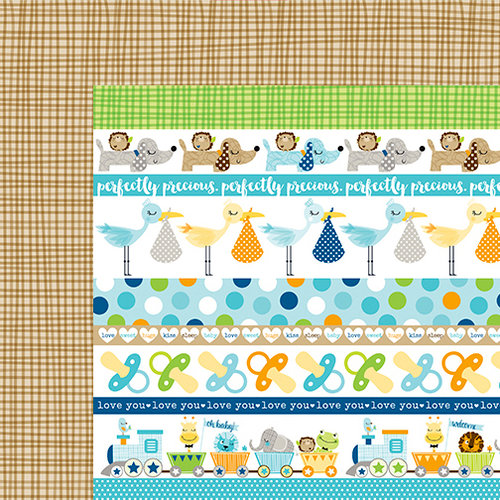 Bella Blvd - Cute Baby Boy Collection - 12 x 12 Double Sided Paper - Borders