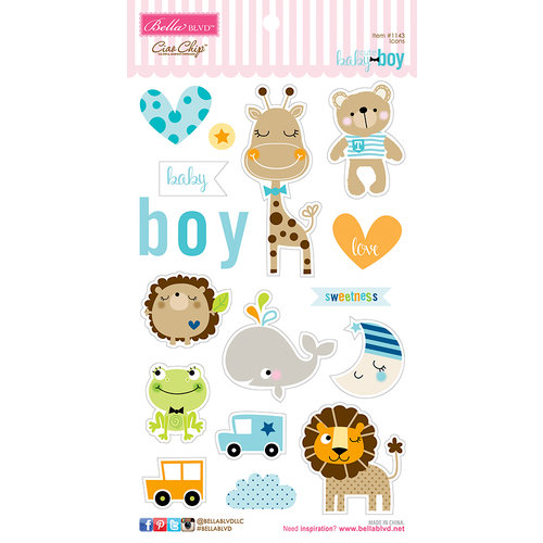 Bella Blvd - Cute Baby Boy Collection - Ciao Chip - Self Adhesive Chipboard - Icons