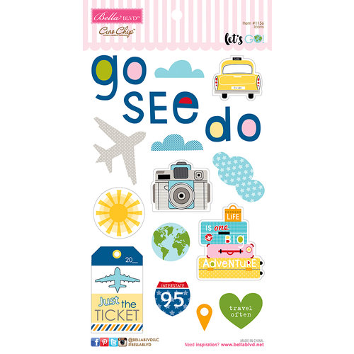 Bella Blvd - Lets Go Collection - Ciao Chip - Self Adhesive Chipboard - Icons