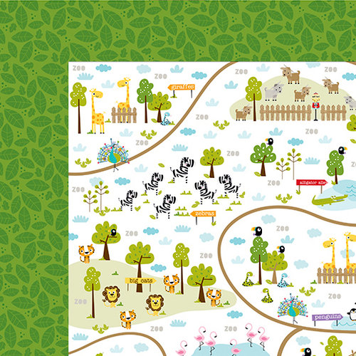 Bella Blvd - The Zoo Crew Collection - 12 x 12 Double Sided Paper - Zoo Trails