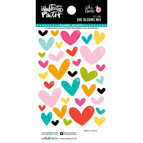 Bella Blvd - Illustrated Faith - She Blooms Collection - Mix Enamel Hearts