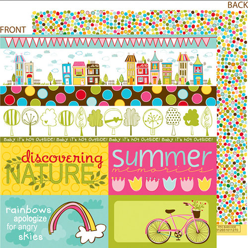 Bella Blvd - Sunny Happy Skies Collection - 12 x 12 Double Sided Paper - Borders N' Blocks, CLEARANCE