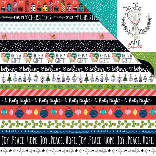 Bella Blvd - Illustrated Faith - CHRISTmas Collection - 12 x 12 Double Sided Paper - Borders