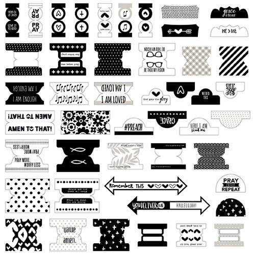 Bella Blvd - Illustrated Faith - Basics Collection - Tabbies - Black and White