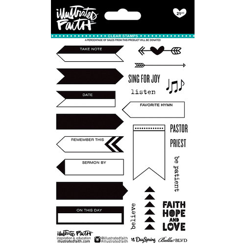 Bella Blvd - Illustrated Faith - Basics Collection - Clear Acrylic Stamps - Icons