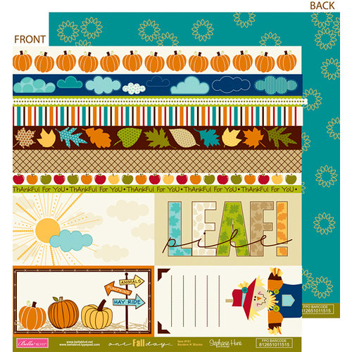 Bella Blvd - One Fall Day Collection - 12 x 12 Double Sided Paper - Borders N' Blocks, CLEARANCE