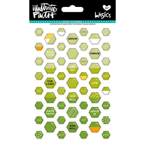 Bella Blvd - Illustrated Faith - Epoxy Stickers - Mini Hexies - Olive You Mix