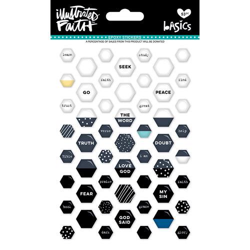 Bella Blvd - Illustrated Faith - Epoxy Stickers - Mini Hexies - Black Eyed Pea Mix