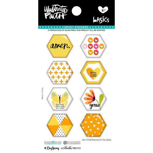 Bella Blvd - Illustrated Faith - Epoxy Stickers - Hexies - Bananas For You