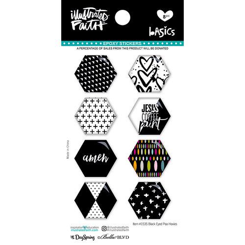 Bella Blvd - Illustrated Faith - Epoxy Stickers - Hexies - Black Eyed Pea