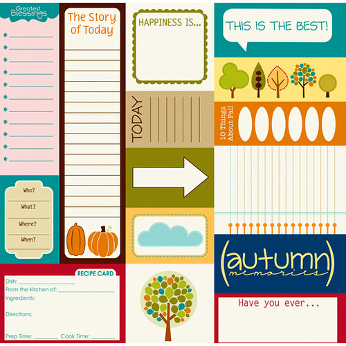 Bella Blvd - One Fall Day Collection - 12 x 12 Cardstock Stickers - Bella Blurbs, CLEARANCE