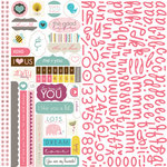 Bella Blvd - Lovey Dovey Collection - 12 x 12 Cardstock Stickers - Alphabet and Bits
