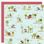 Bella Blvd - Tail Waggers and Cat Naps Collection - 12 x 12 Double Sided Paper - Puppy Park