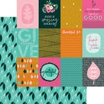 Bella Blvd - Illustrated Faith - Gratitude Documented Collection - 12 x 12 Double Sided Paper - 3 x 4s