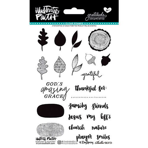 Bella Blvd - Illustrated Faith - Gratitude Documented Collection - Clear Acrylic Stamps