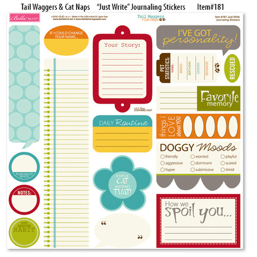 Bella Blvd - Tail Waggers and Cat Naps Collection - 12 x 12 Cardstock Stickers - Just Write