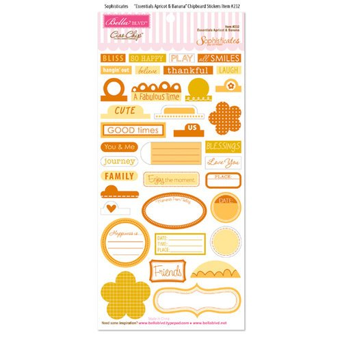 Bella Blvd - Sophisticates Collection - Ciao Chip - Self Adhesive Chipboard - Essentials - Apricot and Banana
