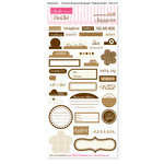 Bella Blvd - Sophisticates Collection - Ciao Chip - Self Adhesive Chipboard - Essentials - Brownie and Champagne