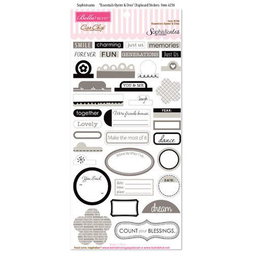 Bella Blvd - Sophisticates Collection - Ciao Chip - Self Adhesive Chipboard - Essentials - Oyster and Oreo