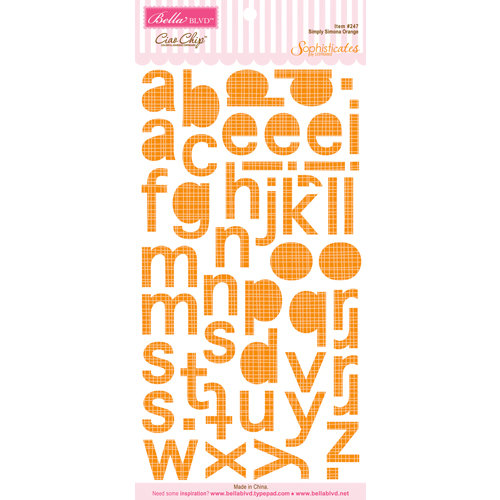 Bella Blvd - Sophisticates Collection - Ciao Chip - Self Adhesive Chipboard - Simply Simona Alphabet - Orange