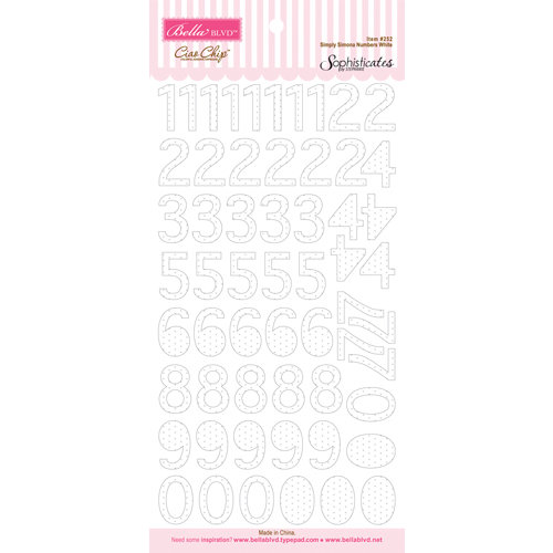 Bella Blvd - Sophisticates Collection - Ciao Chip - Self Adhesive Chipboard - Simply Simona Numbers - White